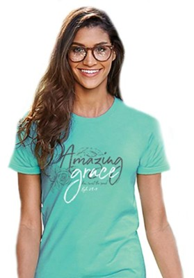 Amazing Grace Shirt, Teal, Medium  -
