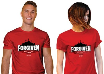 Forgiven, Jesus Fought the Battle, Shirt, Red, Large    -