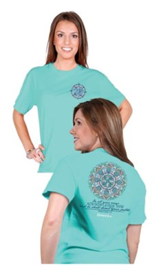 Acknowledge Him, Compass, Shirt, Teal, Medium  -