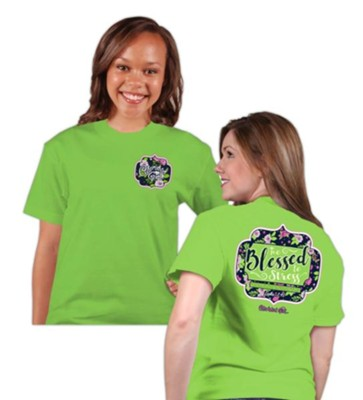 Too Blessed To Stress Shirt, Lime Green, Small  -
