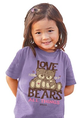 Love Bears All Things Shirt, Purple, Toddler 5  -