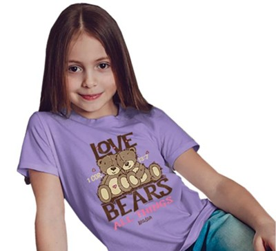 Love Bears All Things Shirt, Purple, Youth Large  -