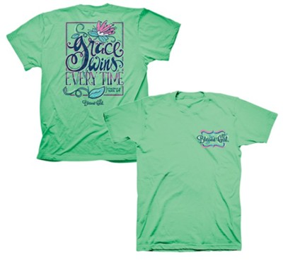 Grace Wins Every Time Shirt, Mint Green, Large  -