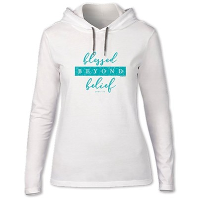 Blessed Beyond Belief, Hooded Long Sleeve Shirt, White, XX-Large  -