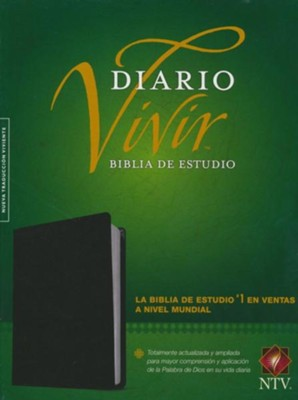 Biblia de Estudio Diario Vivir NTV, Piel Fab. Negra  (NTV Life Application Study Bible, Bonded Leather, Black)  -