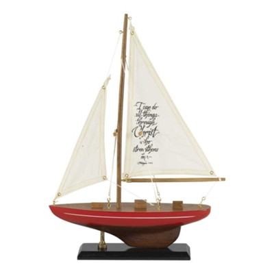 I Can Do All Things Wood and Fabric Sailboat  -