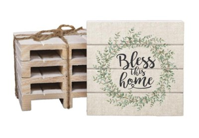 Bless This Home Wood Coasters  -
