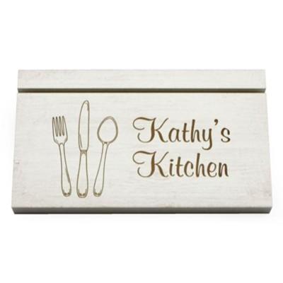 Personalized Recipe Card Holder Kitchen Utensils White