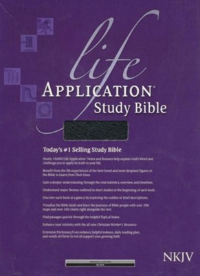 NKJV Life Application Study Bible, Black Bonded Leather,  Thumb-Indexed  -