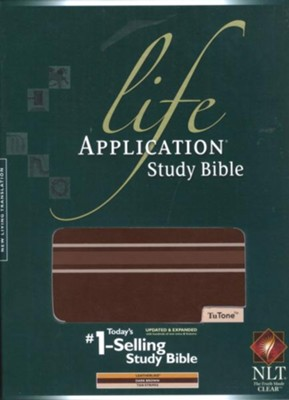NLT Life Application Study Bible, TuTone Dark Brown with Stripes Imitation Leather  -