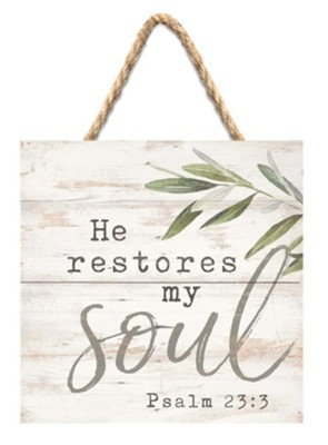 He Restores My Soul Jute Hanging Decor  -