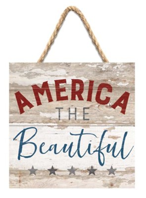 America the Beautiful Jute Hanging Decor  -