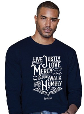 Live Justly, Long Sleeve Shirt, Navy Blue, Large  -