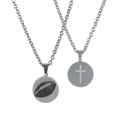 Football Necklace for Him, Stainless Steel  -