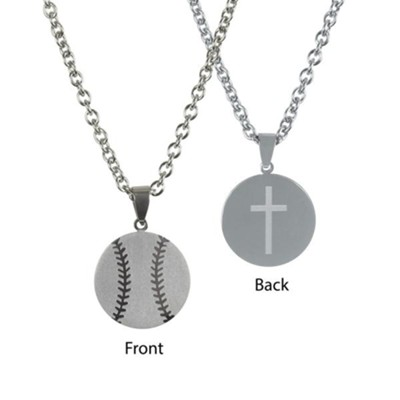 Baseball Necklace for Him, Stainless Steel  -