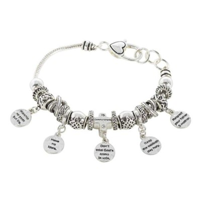 10 Commandments Beaded Charm Bracelet, Silver  -