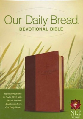 NLT Our Daily Bread Devotional Bible, Leatherlike Brown/Tan  -