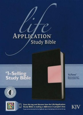 KJV Life Application Study Bible 2nd Edition, TuTone  Black/Patent Leather Pink Indexed Leatherlike  -     By: Tyndale