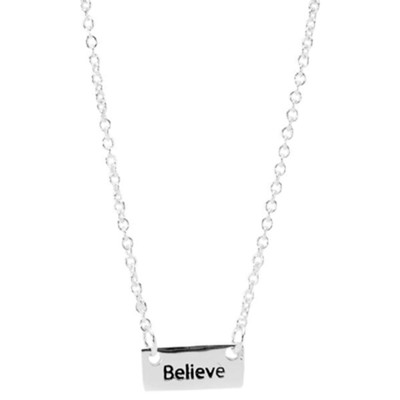 Believe Rectangle Charm Necklace  -