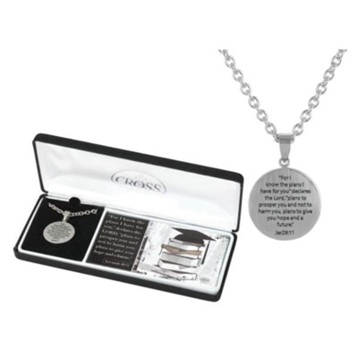 Graduation, Jeremiah 29:11 Disc, Cross, Necklace for Guys  -
