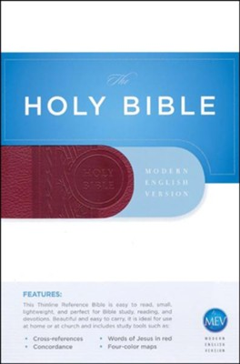 MEV Thinline Reference Bible, Imitation Leather Cranberry  -