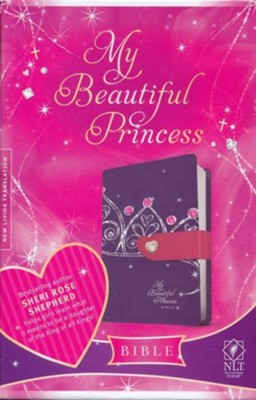 NLT My Beautiful Princess Bible, TuTone Leatherlike Purple Crown/Pink with Heart magnetic closure  -     By: Sheri Rose Shepherd
