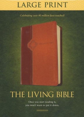 Living Bible: Large Print, TuTone Brown and Tan Imitation Leather  -