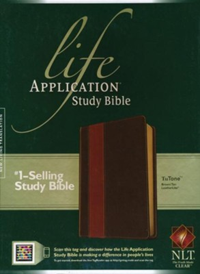 NLT Life Application Study Bible Leatherlike brown & tan  -
