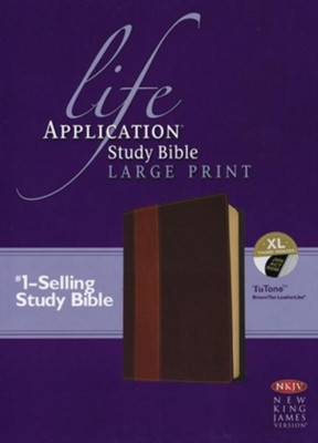 NKJV Life Application Study Bible. Large Print, Brown and Tan Imitation Leather, Indexed  -