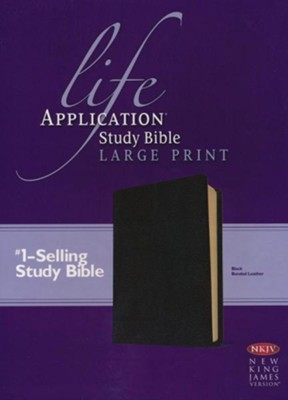 NKJV Life Application Study Bible. Large Print Black Bonded Leather  -
