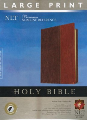 NLT Premium Slimline Reference Bible, Large Print TuTone Brown and Tan Imitation Leather, Indexed  -