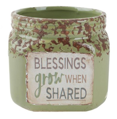 Blessings Grow When Shared Crock, Green  -     By: Barbara Lloyd