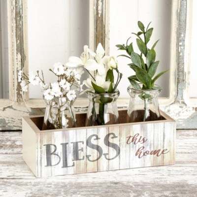 Bless This Home Wooden Box with 3 Glass Bottles  -     By: Kate Ward Thacker