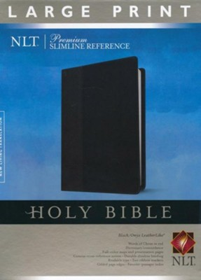 NLT Premium Slimline Large-Print Reference Bible--soft leather-look, black/onyx   -