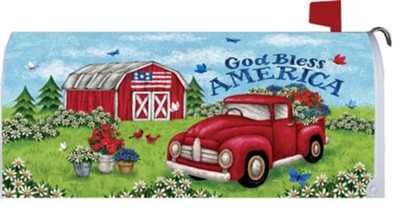 God Bless America, Truck and Barn, Mailbox Cover  -     By: Tina Wenke