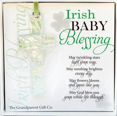Cross Irish Baby Blessing Iridescent Glass Ornament  -