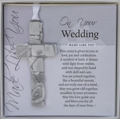 On Your Wedding Mosaic Cross Ornament   -