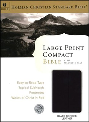 HCSB Large Print Compact Bible, Black Bonded Leather With Magnetic Flap Closure  -