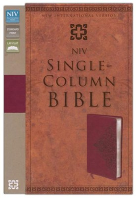 NIV Single-Column Bible, Italian Duo-Tone Tone, Cranberry  -     By: Zondervan