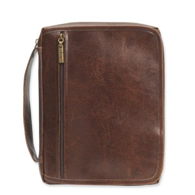 Leather-Look Bible Cover Organizer, Brown, Large  -