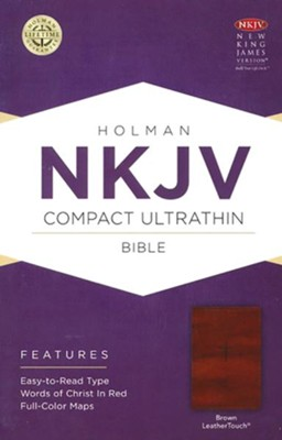NKJV Compact UltraThin Bible, Brown Imitation Leather  -