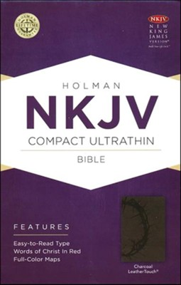NKJV Compact Ultrathin Bible, Charcoal Imitation Leather  -