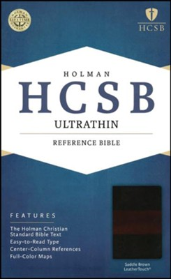 HCSB Ultrathin Reference Bible, Saddle Brown LeatherTouch, Thumb-Indexed  -