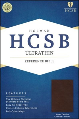 HCSB Ultrathin Reference Bible, Dark Brown Genuine Cowhide Thumb-indexed  -