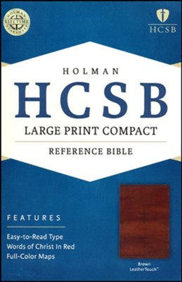HCSB Large Print Compact Bible, Brown LeatherTouch  -