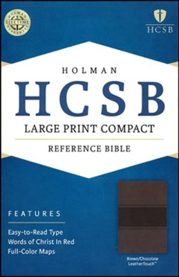 HCSB Large Print Compact Bible, Brown and Chocolate LeatherTouch  -