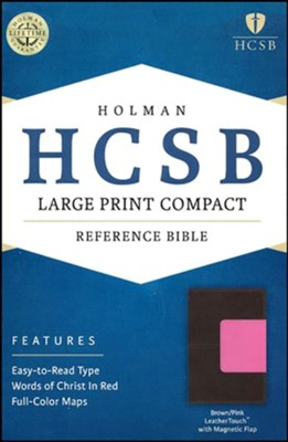 HCSB Large Print Compact Bible, Brown and Pink LeatherTouch with Magnetic Flap  -