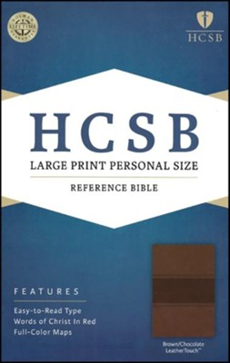 HCSB Large Print Personal Size Bible, Brown and Chocolate LeatherTouch  -