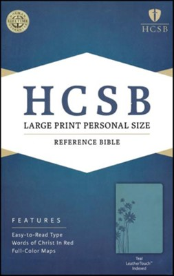HCSB Large Print Personal Size Bible, Teal LeatherTouch, Thumb-Indexed , Flower  -