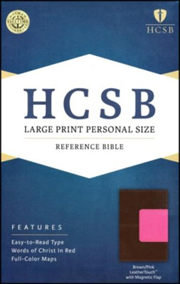 HCSB Large Print Personal Size Bible, Pink and Brown LeatherTouch with Magnetic Flap  -